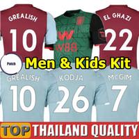 villa soccer al por mayor-19 20 Aston Villa camisetas de fútbol 2019 2020 WESLEY GREALISH KODJA EL GHAZI conjunto de camiseta de fútbol CHESTER McGinn TARGETT Hombres Kit para niños uniformes