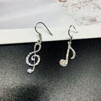 müzik notaları küpeler toptan satış-Moda Tam Kristal Müzik Not Kolye Küpe Shining Rhinestone Charm Küpe Kadınlar için Kızlar Parti Kulak Takı Hediye