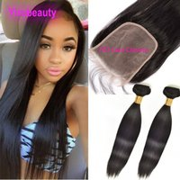Wholesale 3pieces hairs bundles for sale - Group buy Brazilian Virgin Hair Straight Bundles With X7 Lace Closure Pieces Straight Human Hair Wefts With Top Closures By