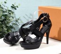 zapatillas de mujer sexy al por mayor-Sexy New Womens High Heel 12 CM sandalias de plataforma de cuero real de cuero femenino hebilla de la correa de zapatos zapatillas SZ35-42