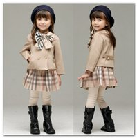 Wholesale long skirts big bows resale online - Brand kids outfits girls big plaid Bows tie double breasted long sleeve outwear lattice skirt sets preppy style girl clothes P0055