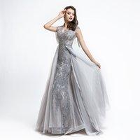 lüks artı boyut maxi elbiseler toptan satış-5486 Lüks Gelinlik Modelleri üst etek Taraf A Hattı Akşam Elbise Yarışması Plus Size Gri Elbise ile 2020 Kılıf Maxi Elbise