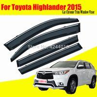 ingrosso adesivi toyota highlander-Finestrini per auto Rifugi per finestre Visiere Paraspruzzi Adesivo per copertura placcatura cromata Assetto per Toyota Highlander Kluger 2015