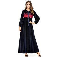 3790075228 Maxi Dresses Velvet Autumn Winter Women Long Dress Floral Embroidery Eid  Adha Ramadan Muslim Clothing