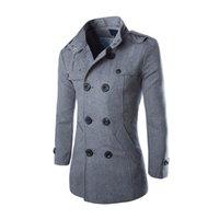 pecho caliente y grueso al por mayor-Abrigo de lana de los hombres CALIENTES Otoño Abrigos de doble botonadura Abrigo grueso Abrigo 19ING