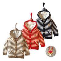 4t девочек свитера оптовых-Детская с капюшоном толстый свитер 12 м до 4 Т 100% хлопок полосатый кардиган Весна Осень Зима Девочка Мальчик Детская одежда