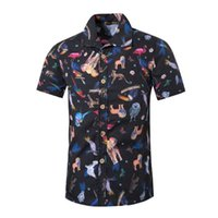рубашки из полиэстера для мужчин оптовых-New Nice Quality Casual Men's Short Sleeve Shirts Animals Print Hawaii Style Polyester Cotton Tee Male Summer Clothing 5XL Men