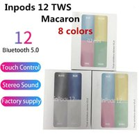 ingrosso auricolari per il colore della mela-inpods colorate 12 inpods12 i12 Macaron wireless Bluetooth di colore TWS auricolare finestra pop up tocco auricolari auricolare per tutto il telefono astuto 2019