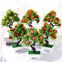 ingrosso piante di melo-Piante da bonsai di frutta artificiale Set di alberi da frutta di mela e arancio in vaso per la decorazione di feste in hotel a casa Decorazioni di piante artificiali
