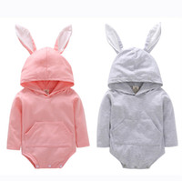 Wholesale Baby Rabbit Rompers Boy Girls Coney Jumpsuit Coney Dress Easter Rabbit Ears Hooded Sweatshirt Dress Striped Dress Girls Easter Dresses
