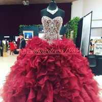 Wholesale organza blue quinceanera dress for sale - Group buy Luxury Organza Ruffle Quinceanera Dresses Ball Crystal Beaded Tiers Plus Size Burgundy Girl Prom Party Dress Formal Gowns Custom Made