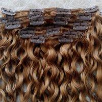 saç uzantıları kıvırcık dalga toptan satış-u7 Kıvırcık İnsan Saç Uzantıları Sarışın Rengi Saç Uzantıları Brezilyalı bakire su dalgası saç atkı klipte İşlenmemiş Kıvırcık Klip 18clips