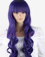фиолетовый синий парик микс оптовых-Парик LL 3028 Длинный Шарм Синий Микс Фиолетовый Волнистые Парики Полные Волосы Косплей Костюм Парик