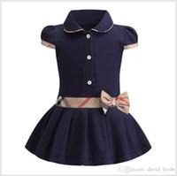 çocuklar gündüz gömlekleri elbiseler kızlar toptan satış-Perakende Bebek Kız Prenses Elbise Çocuklar Yaka Koleji Stil Ilmek Kısa Kollu Pileli Polo Gömlek Etek Çocuk Yaz Günlük Elbiseler