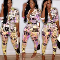 Wholesale yellow rompers for women for sale – dress 2019 Sexy Rompers for Women Party Club Night Summer Newspaper Print Shirt Jumpsuit Bodycon Long Pants Tracksuit Outfits