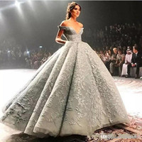 ingrosso gonna blu 12-2019 New Charming Gonna Puffy blu Dubai Arabo Off Spalline Occasioni Prom Zuhair Murad Gorgeous Lace Applique Evening Fomral Dresses