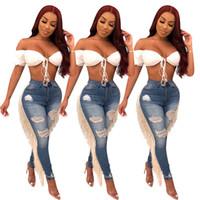 frauen rippen jeans großhandel-Frauen Ripped Hole Quasten Jeans Bodycon hohe Taille Sommer Herbst Hose Slim Skinny Stretch Denim Hosen Hosen LJJA2883