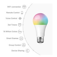 лучшие b22 светодиодные лампы оптовых-Мини E27 WiFi Смарт Лампочка Диммируемый Multicolor Wake-Up Свет RGB + W + C светодиодные лампы Совместимость с Alexa и Google Home IFTTT Voice Control