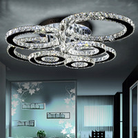 lámparas led de acero inoxidable. al por mayor-Lámparas LED modernas Lámpara de techo LED de cristal de acero inoxidable para sala de estar Anillo de diamantes LED Lustres Lamparas de techo