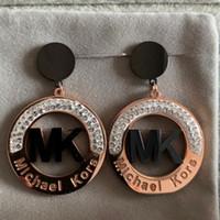 ingrosso orecchini di goccia dell'oro di 18k-2019 grande alta qualità Fashion Design marchio in acciaio al titanio oro rosa diamante orecchini di goccia di nozze per le donne amanti degli uomini gioielli