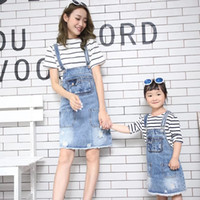 Wholesale mother daughter denim for sale - Group buy Little Girls Kids Adjustable Strap Denim Bib Overalls Jumpsuit Romper Mother Daughter Outfits Family Matching Clothes