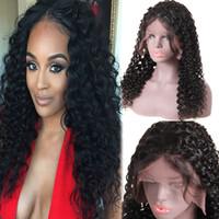 kıvırcık bakire dantel perukları toptan satış-10A Dantel Ön Veya 360 Tam Dantel Remy İnsan Saç Peruk Siyah Kadınlar Için derin Dalga Kıvırcık Gevşek Dantel Ön Peruk Bakire Saç 360 Tam Peruk Saç