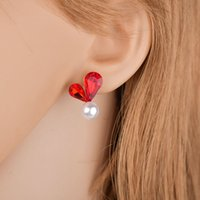 ingrosso orecchini a sfere grigio-New Simple Red / Grigio Crystal Heart Stud orecchino Moda elegante palla simulato perla orecchino per le donne Brinco E2568