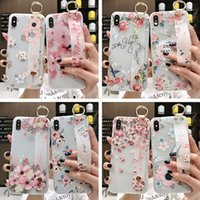 Wholesale customize silicone wristbands for sale - Group buy Phone case simple flower wristband bracket silicone TPU soft for P30 Pro phone case S10 dhl free