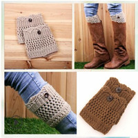 Wholesale girl knit boots for sale - INS Leggings For Women Ladies Winter Leg Warmers Button Crochet Knit Boot Socks Toppers Cuffs Designer Belt Leggings Leg Socks MMA1111