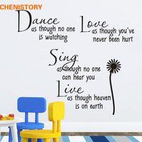 ingrosso adesivi da parete smontabili da ballo-DANCE LOVE SING LIVE Home Accessori Wall Stickers Girasole DIY Smontabile Decalcomanie in vinile per la decorazione della stanza Decorazione della parete di arte