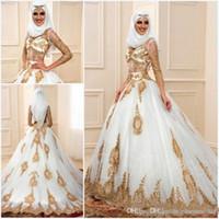 ingrosso abiti da sposa arabi oro-2018 I più nuovi abiti da sposa musulmani con applique in oro 3/4 maniche lunghe tulle puro indiano abiti da sposa arabi Mariage