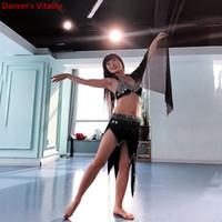 fitas de dança negra venda por atacado-Novas Mulheres Prática de Dança Do Ventre Strass Bra Fita Dividir Saia Oriental Indiano Desgaste Da Dança Desempenho Roupas Pretas Outfits