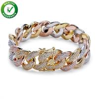 bracelets en diamant pavé achat en gros de-Diamant Tennis Bracelet Hip Hop Bijoux Hommes Bracelets Designer De Luxe Bracelet 18 K Or Glacé Cubain Lien Chaînes Micro Pavé CZ De Mariage