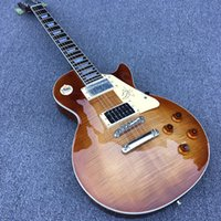 Wholesale flamed maple electric guitar for sale - Group buy High quality LP electric guitar solid mahogany body brown flame maple top chrome plated hardware