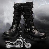 diz boyu 45 toptan satış-Diz Yüksek Erkek Botları 38-45 Deri Binicilik Erkek Motosiklet Botları