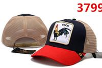 kaliteli horoz toptan satış-2019 yeni yüksek kalite mesh beyzbol şapkası Erkek Kadın moda tasarımcısı cock nakış lüks şapkalar Avrupa Amerikan tarzı golf spor ...