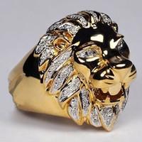 doğal 14k elmas toptan satış-Punk Stil Aslan Başkanı Kişilik Yüzük erkek 14 K Rose Gold Doğal Beyaz Safir Pırlanta Yüzük Düğün Nişan Yüzüğü Boyut 6-13