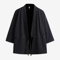 ingrosso giappone cappotto stile uomini-Giacca da uomo stile giapponese in cotone cardigan giacca maschile Streetwear moda Hip Hop cappotto casual sciolto Kimono Jacket taglia M-5XL