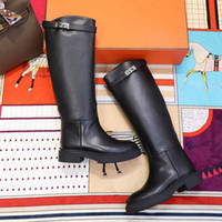 Wholesale grey suede over knee flat boots for sale - Group buy Hot Sale new Variation boot brand Buckle Knee Boots high boots Designer women s luxury Kelly boot fashion over the knee bottillons