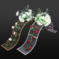 Wholesale golden flowers decorations resale online - Iron Road Led Wedding Decorations White Golden Grid Sigmoid Geometric T Stage Decoration Fashion Simple Flower Ornament raD1