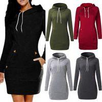 uzun hoodie elbiseleri toptan satış-Kapşonlu Uzun kollu Hoodies Elbise Vintage Rahat Gevşek İpli Hoodies Bayanlar Pamuk Baggy Fermuar Kapüşonlu Kazak TTA157 Cepler