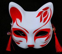Wholesale cat paint mask for sale - Group buy Fox Mask Half Face Mask Halloween Cosplay Animal Masks hand painted Japanese style wind fox anime cosplay masquerade mask