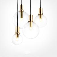 ingrosso pranzo d'oro-Art designer moderna luce a sospensione a LED in vetro nero oro cucina sala da pranzo lampada a sospensione LED bar ristorante casa ciondolo luci
