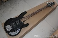 Wholesale stingray guitars for sale - Group buy Top quality Music Man StingRay Strings Black electric bass guitar with active pickups V battery