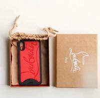 embalaje para caja del teléfono móvil al por mayor-Nueva caja del teléfono móvil con letra inglesa en relieve roja para iphone Xs max 7 7plus 8 8plu X XS con estuche original y bolsa para polvo