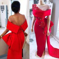 raja alfombra roja al por mayor-Vestido de noche de fiesta de fiesta de sirena roja de encaje Funda con abalorios Abalorio alto Fiesta formal Vestidos Celebrity Carpet Dress