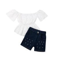 beyaz denim şort çocukları toptan satış-1-6Y Yürüyor Çocuk Bebek Kız Yaz Giysileri Setleri Beyaz Dantel Üstleri T-shirt Denim Şort 2 Adet Kıyafetler Giysileri
