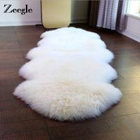 esteras de piel de oveja al por mayor-Zeegle Shaggy Faux de piel de oveja alfombra para sala de estar sofá funda suave estera decoración del hogar siesta manta de piel mullida área alfombras