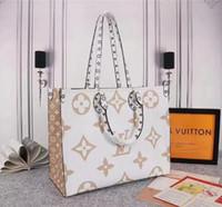 dekorative mädchen großhandel-Neueste Ankunft Tide L Brief OnTheGo Canvas Handtaschen Red dekorative Muster-Tasche Druck Purse Damenmode Taschen Mädchen-Einkaufstasche