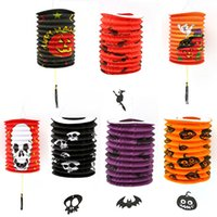 Wholesale decorative skeleton resale online - new Halloween Folding Paper Lantern Children s Portable Paper Bat Skeleton Hanging Pumpkin Lantern Light Lamp Halloween Decor T2I5342